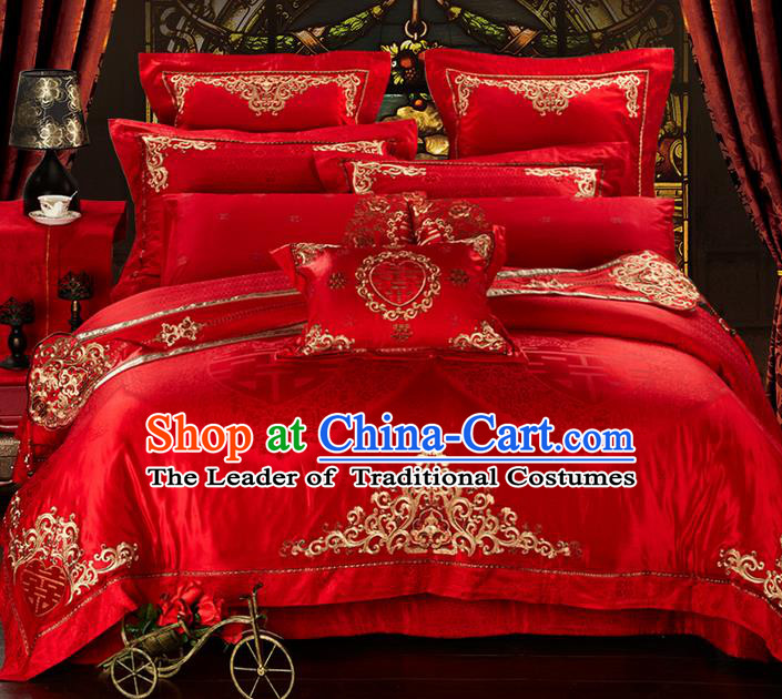 Traditional Asian Chinese Style Wedding Article Bedding Double Happiness Sheet Complete Set, Golden Embroidery Red Eleven-piece Duvet Cover Satin Drill Textile Bedding Suit