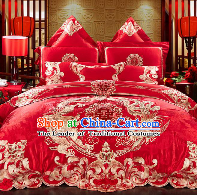 Traditional Asian Chinese Style Wedding Article Bedding Dragon and Phoenix Sheet Complete Set, Embroidery Peony Red Eleven-piece Duvet Cover Satin Drill Textile Bedding Suit