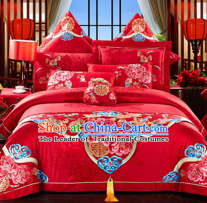 Traditional Asian Chinese Style Wedding Article Bedding Hundred Sons Sheet Complete Set, Embroidery Peony Red Eleven-piece Duvet Cover Satin Drill Textile Bedding Suit