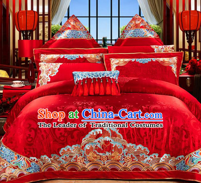 Traditional Asian Chinese Style Wedding Article Bedding Red Sheet Complete Set, Embroidery Dragon and Phoenix Eleven-piece Duvet Cover Satin Drill Textile Bedding Suit