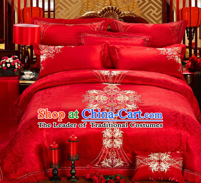 Traditional Asian Chinese Style Wedding Article Bedding Sheet Complete Set, Embroidery Peony Ten-piece Duvet Cover Satin Drill Textile Bedding Suit
