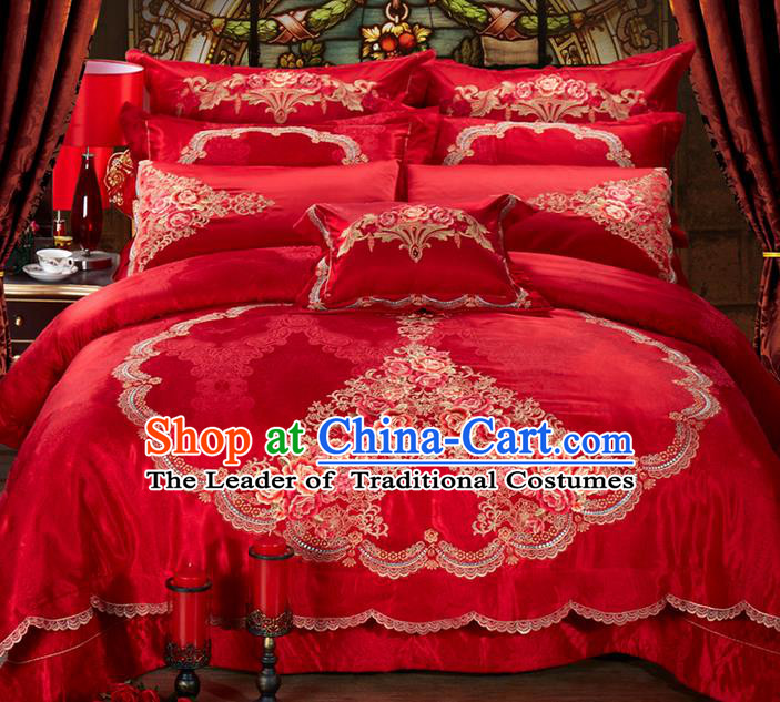Traditional Asian Chinese Style Wedding Article Bedding Heart-shaped Sheet Complete Set, Embroidery Peony Ten-piece Duvet Cover Satin Drill Textile Bedding Suit