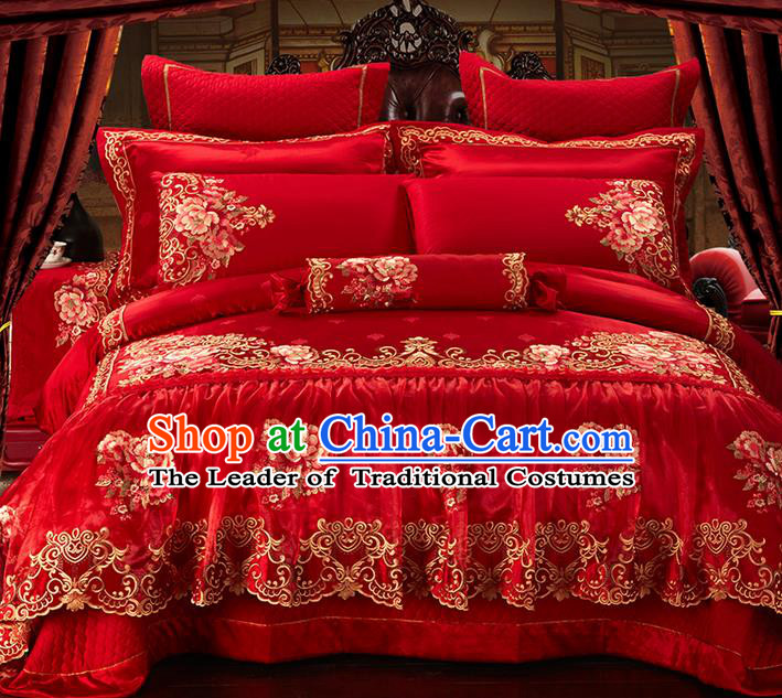 Traditional Asian Chinese Style Wedding Article Embroidery Peony Satin Drill Bedding Sheet Complete Set, Duvet Cover Red Lace Textile Bedding Ten-piece Suit