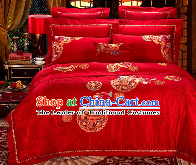 Traditional Asian Chinese Style Wedding Article Embroidery Happy Character Satin Drill Bedding Sheet Complete Set, Duvet Cover Red Lace Textile Bedding Six-piece Suit