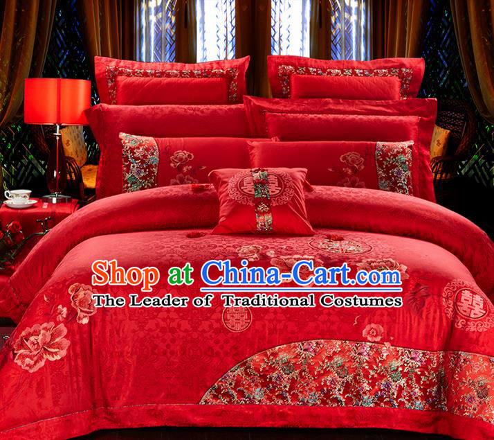 Traditional Asian Chinese Style Wedding Article Bedding Flowers Sheet Complete Set, Embroidery Peony Ten-piece Duvet Cover Satin Drill Textile Bedding Suit