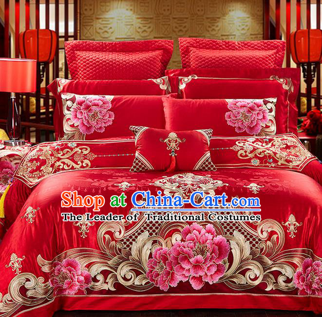 Traditional Asian Chinese Style Wedding Article Palace Embroidered Peony Qulit Cover Bedding Sheet Complete Set, Jacquard Weave Satin Drill Eleven-piece Duvet Cover Textile Bedding Suit