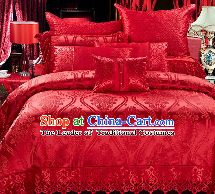 Traditional Asian Chinese Style Wedding Article Bedding Sheet Complete Set, Jacquard Weave Satin Drill Ten-piece Duvet Cover Textile Bedding Suit