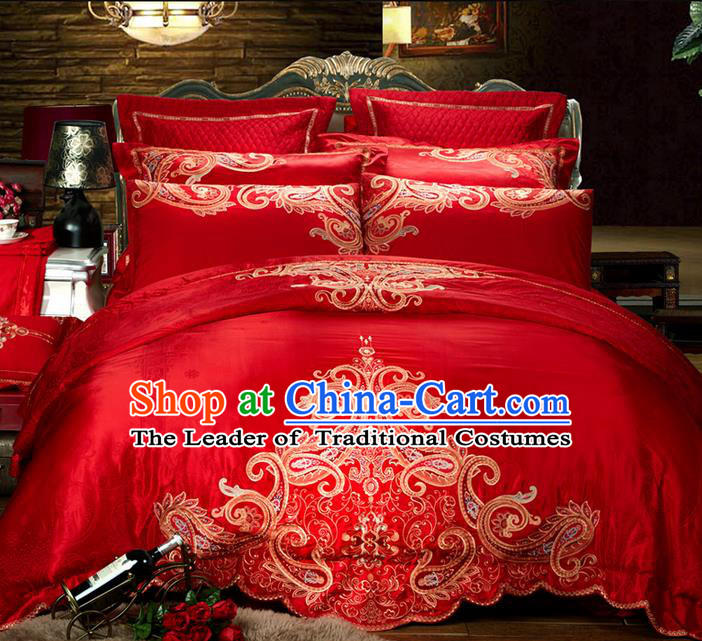 Traditional Asian Chinese Style Wedding Article Palace Embroidered Bedding Sheet Complete Set, Jacquard Weave Satin Drill Ten-piece Duvet Cover Textile Bedding Suit