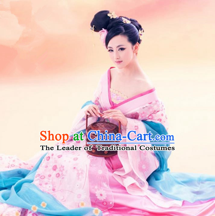 Traditional Asian Chinese Ancient Imperial Princess Costume, China Elegant Hanfu Clothing Tang Dynasty Palace Lady Fairy Dress Clothing for Women