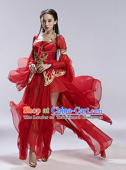 Traditional Asian Chinese Ancient Apsara Peri Costume, China Elegant Hanfu Clothing Tang Dynasty Palace Princess Fairy Red Flying Dance Dress Clothing for Women