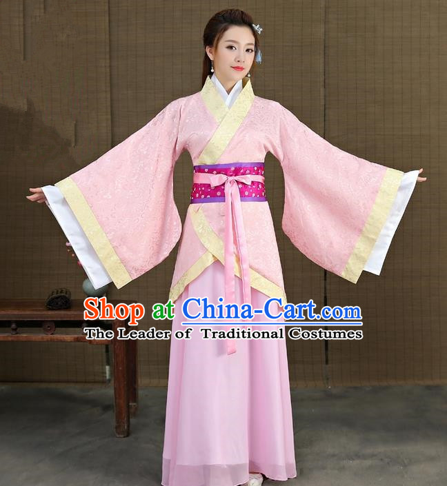 Traditional Asian Chinese Ancient Han Dynasty Imperial Princess Costume, China Elegant Hanfu Clothing Fairy Noble Lady Embroidered Pink Dress Clothing