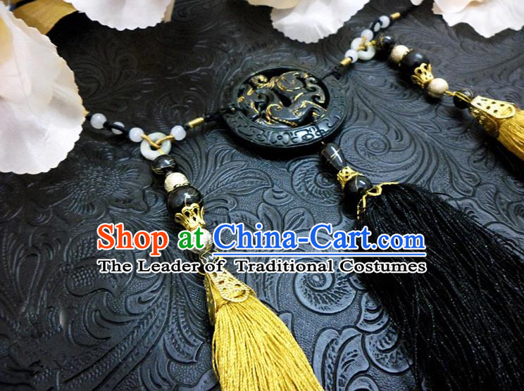 Top Grade Handmade Traditional China Handmade Jewelry Accessories Black Jade Pendant, Ancient Chinese Palace Tassel Waist Decorations for Men