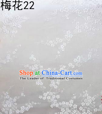 Asian Chinese Traditional Embroidery White Plum Blossom White Silk Fabric, Top Grade Brocade Embroidered Tang Suit Hanfu Dress Fabric Cheongsam Cloth Material