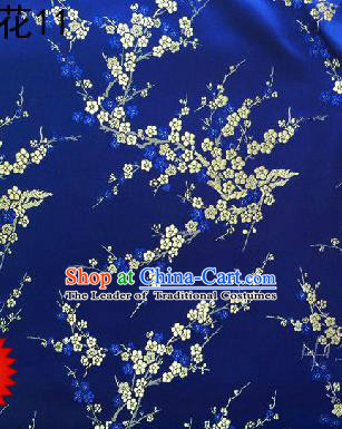 Asian Chinese Traditional Embroidery White Plum Blossom Royalblue Silk Fabric, Top Grade Brocade Embroidered Tang Suit Hanfu Dress Fabric Cheongsam Cloth Material