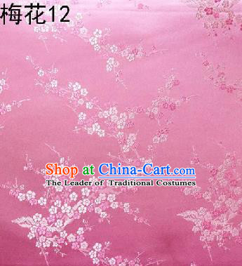 Asian Chinese Traditional Embroidery Plum Blossom Pink Silk Fabric, Top Grade Brocade Embroidered Tang Suit Hanfu Dress Fabric Cheongsam Cloth Material