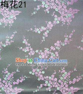 Asian Chinese Traditional Embroidery Pink Plum Blossom Grey Silk Fabric, Top Grade Brocade Embroidered Tang Suit Hanfu Dress Fabric Cheongsam Cloth Material