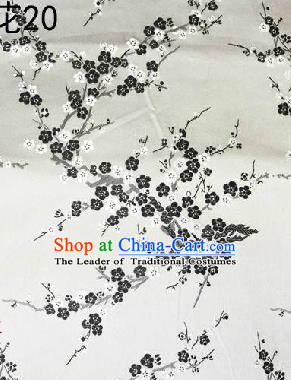 Asian Chinese Traditional Embroidery Black Plum Blossom White Silk Fabric, Top Grade Brocade Embroidered Tang Suit Hanfu Dress Fabric Cheongsam Cloth Material