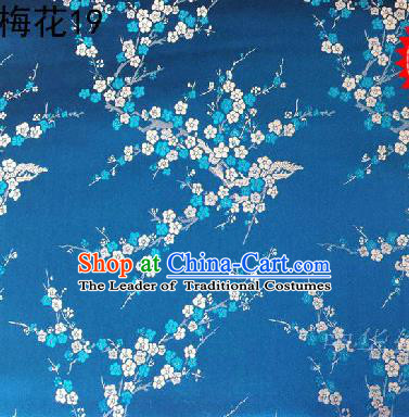 Asian Chinese Traditional Embroidery White Plum Blossom Blue Silk Fabric, Top Grade Brocade Embroidered Tang Suit Hanfu Dress Fabric Cheongsam Cloth Material