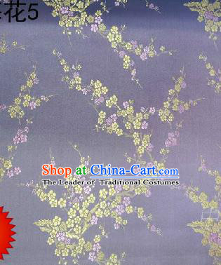 Asian Chinese Traditional Embroidery Golden Plum Blossom Lilac Silk Fabric, Top Grade Brocade Embroidered Tang Suit Hanfu Dress Fabric Cheongsam Cloth Material