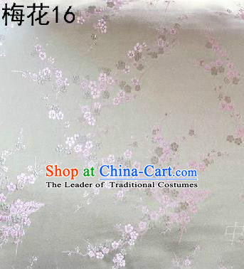 Asian Chinese Traditional Embroidery Pink Plum Blossom White Silk Fabric, Top Grade Brocade Embroidered Tang Suit Hanfu Dress Fabric Cheongsam Cloth Material