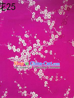 Asian Chinese Traditional Embroidery White Plum Blossom Rosy Silk Fabric, Top Grade Brocade Embroidered Tang Suit Hanfu Dress Fabric Cheongsam Cloth Material