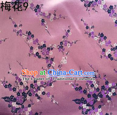 Asian Chinese Traditional Embroidery Colorful Plum Blossom Pink Silk Fabric, Top Grade Brocade Embroidered Tang Suit Hanfu Dress Fabric Cheongsam Cloth Material