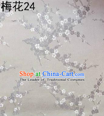 Asian Chinese Traditional Embroidery Grey Plum Blossom White Silk Fabric, Top Grade Brocade Embroidered Tang Suit Hanfu Dress Fabric Cheongsam Cloth Material