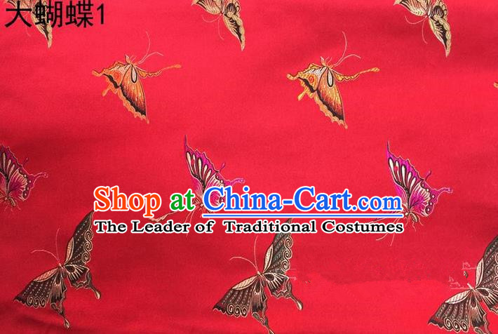 Asian Chinese Traditional Printing Colorful Butterfly Red Silk Fabric, Top Grade Brocade Satin Tang Suit Hanfu Dress Fabric Cheongsam Cloth Material