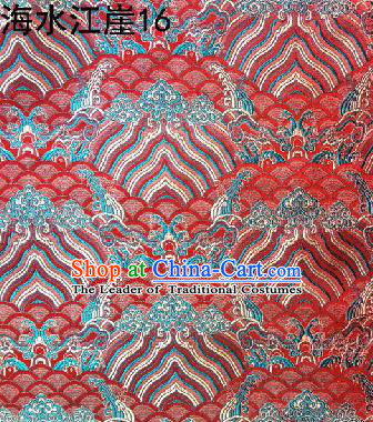 Asian Chinese Traditional Hill Sea Red Silk Fabric, Top Grade Arhat Bed Brocade Satin Tang Suit Hanfu Dress Fabric Cheongsam Cloth Material