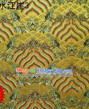 Asian Chinese Traditional Hill Sea Golden Silk Fabric, Top Grade Arhat Bed Brocade Satin Tang Suit Hanfu Dress Fabric Cheongsam Cloth Material