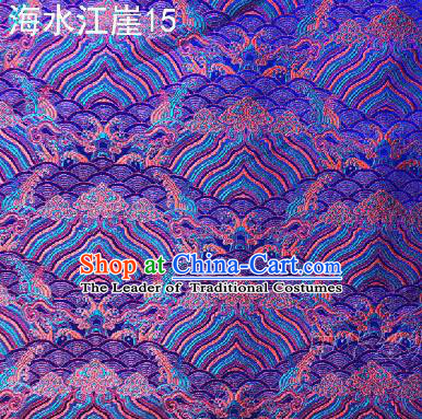 Asian Chinese Traditional Hill Sea Purple Silk Fabric, Top Grade Arhat Bed Brocade Satin Tang Suit Hanfu Dress Fabric Cheongsam Cloth Material