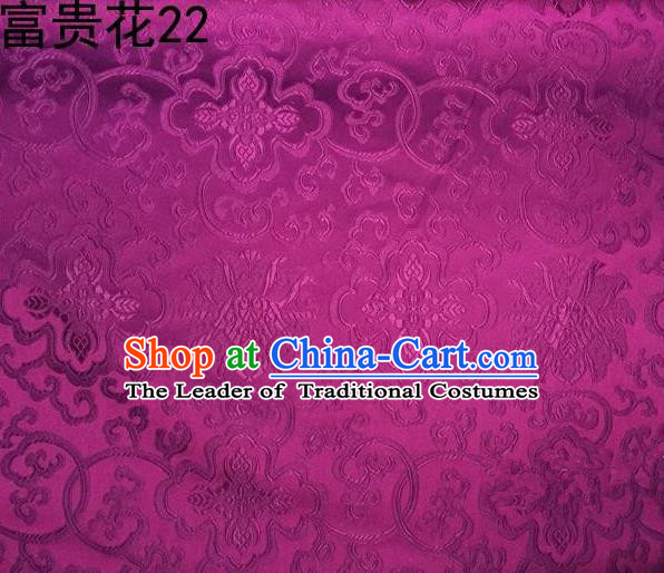 Asian Chinese Traditional Riches and Honour Flowers Rosy Embroidered Silk Fabric, Top Grade Arhat Bed Brocade Satin Tang Suit Hanfu Dress Fabric Cheongsam Cloth Material