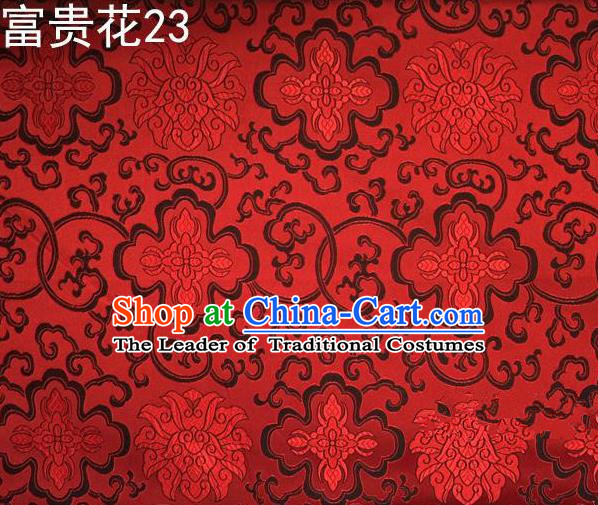 Asian Chinese Traditional Riches and Honour Flowers Red Embroidered Silk Fabric, Top Grade Arhat Bed Brocade Satin Tang Suit Hanfu Dress Fabric Cheongsam Cloth Material