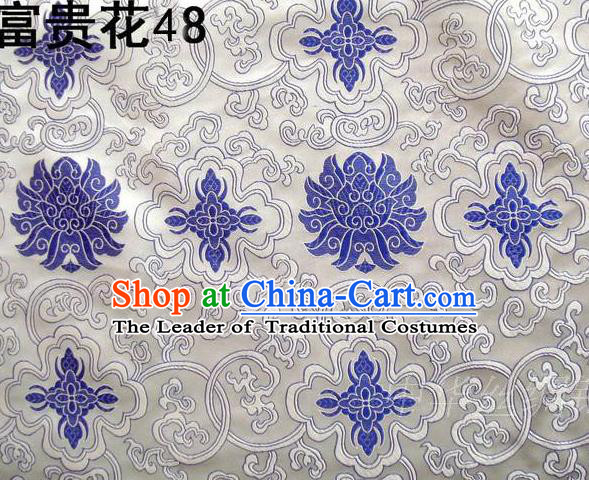 Asian Chinese Traditional Blue Riches and Honour Flowers White Embroidered Silk Fabric, Top Grade Arhat Bed Brocade Satin Tang Suit Hanfu Dress Fabric Cheongsam Cloth Material