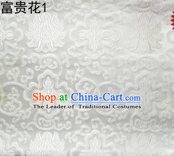 Asian Chinese Traditional Riches and Honour Flowers White Embroidered Silk Fabric, Top Grade Arhat Bed Brocade Satin Tang Suit Hanfu Dress Fabric Cheongsam Cloth Material