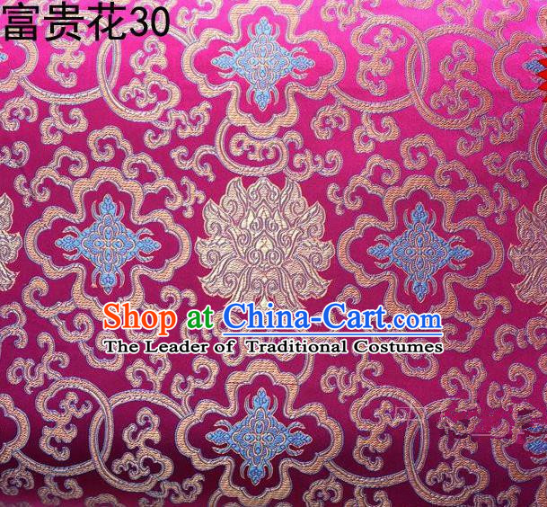 Asian Chinese Traditional Golden Riches and Honour Flowers Rosy Embroidered Silk Fabric, Top Grade Arhat Bed Brocade Satin Tang Suit Hanfu Dress Fabric Cheongsam Cloth Material
