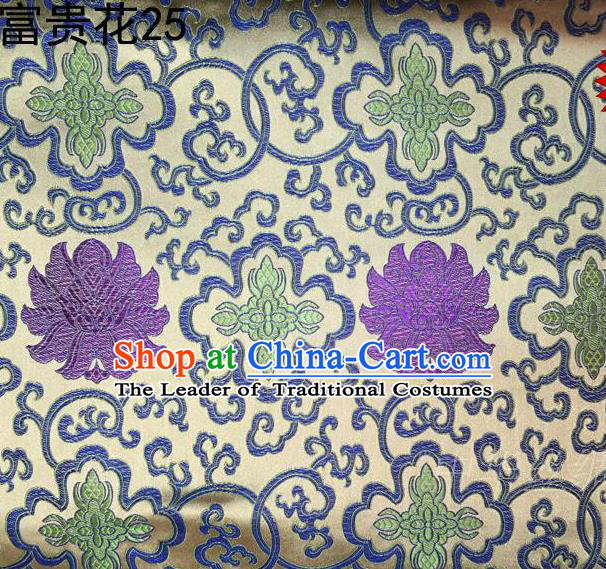 Asian Chinese Traditional Purple Riches and Honour Flowers White Embroidered Silk Fabric, Top Grade Arhat Bed Brocade Satin Tang Suit Hanfu Dress Fabric Cheongsam Cloth Material