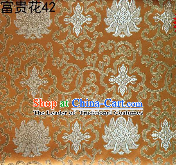 Asian Chinese Traditional White Riches and Honour Flowers Embroidered Golden Silk Fabric, Top Grade Arhat Bed Brocade Satin Tang Suit Hanfu Dress Fabric Cheongsam Cloth Material