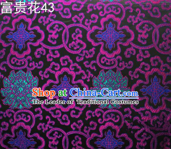 Asian Chinese Traditional Colorful Riches and Honour Flowers Embroidered Black Silk Fabric, Top Grade Arhat Bed Brocade Satin Tang Suit Hanfu Dress Fabric Cheongsam Cloth Material