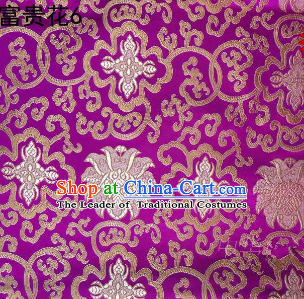 Asian Chinese Traditional Golden Riches and Honour Flowers Embroidered Rosy Silk Fabric, Top Grade Arhat Bed Brocade Satin Tang Suit Hanfu Dress Fabric Cheongsam Cloth Material