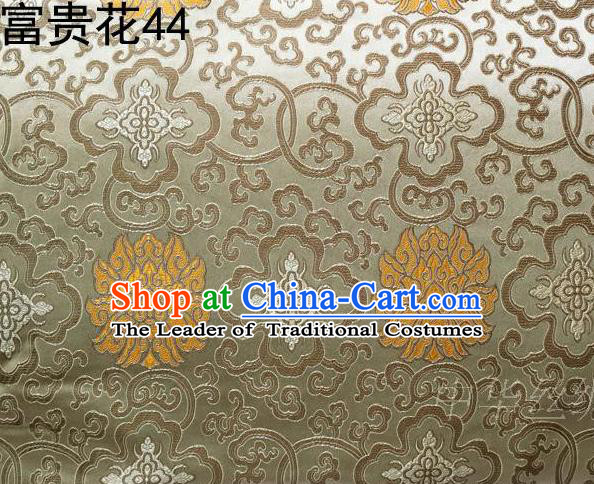 Asian Chinese Traditional Golden Riches and Honour Flowers Embroidered Silk Fabric, Top Grade Arhat Bed Brocade Satin Tang Suit Hanfu Dress Fabric Cheongsam Cloth Material