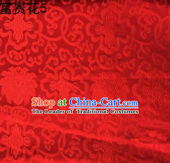 Asian Chinese Traditional Riches and Honour Flowers Embroidered Red Silk Fabric, Top Grade Arhat Bed Brocade Satin Tang Suit Hanfu Dress Fabric Cheongsam Cloth Material
