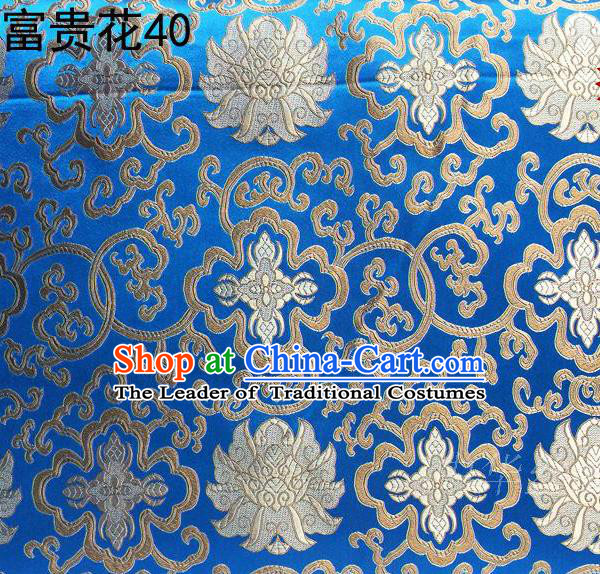 Asian Chinese Traditional Golden Riches and Honour Flowers Embroidered Blue Silk Fabric, Top Grade Arhat Bed Brocade Satin Tang Suit Hanfu Dress Fabric Cheongsam Cloth Material