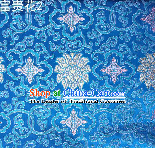 Asian Chinese Traditional White Riches and Honour Flowers Embroidered Blue Silk Fabric, Top Grade Arhat Bed Brocade Satin Tang Suit Hanfu Dress Fabric Cheongsam Cloth Material
