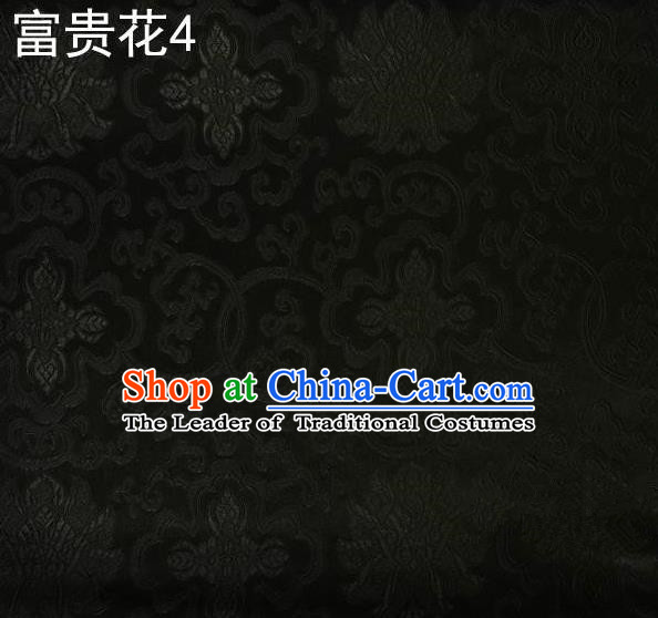 Asian Chinese Traditional Riches and Honour Flowers Embroidered Black Silk Fabric, Top Grade Arhat Bed Brocade Satin Tang Suit Hanfu Dress Fabric Cheongsam Cloth Material