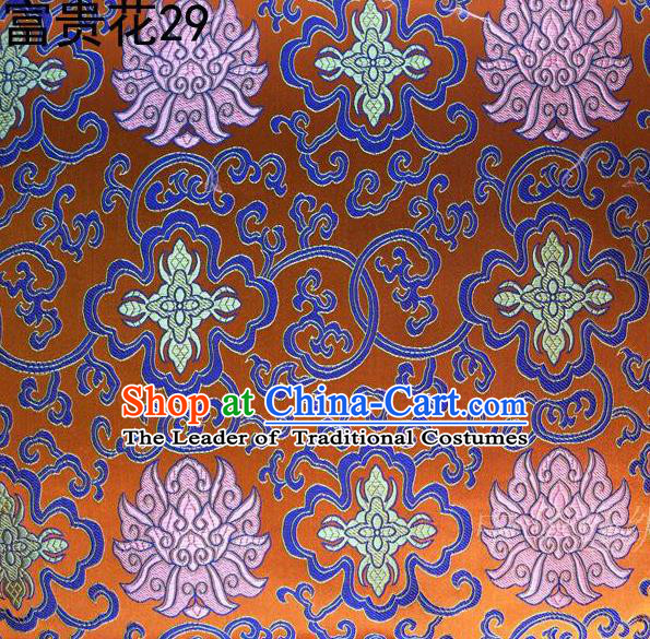 Asian Chinese Traditional Riches and Honour Flowers Embroidered Orange Silk Fabric, Top Grade Arhat Bed Brocade Satin Tang Suit Hanfu Dress Fabric Cheongsam Cloth Material