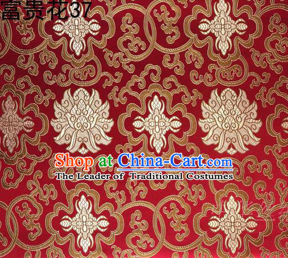 Asian Chinese Traditional Golden Riches and Honour Flowers Embroidered Red Silk Fabric, Top Grade Arhat Bed Brocade Satin Tang Suit Hanfu Dress Fabric Cheongsam Cloth Material
