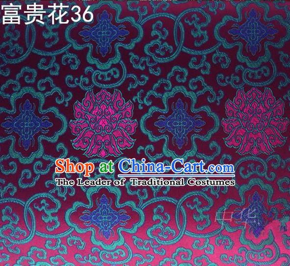 Asian Chinese Traditional Blue Riches and Honour Flowers Embroidered Rosy Silk Fabric, Top Grade Arhat Bed Brocade Satin Tang Suit Hanfu Dress Fabric Cheongsam Cloth Material