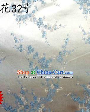 Asian Chinese Traditional Embroidery Blue Plum Blossom White Silk Fabric, Top Grade Brocade Embroidered Tang Suit Hanfu Dress Fabric Cheongsam Cloth Material