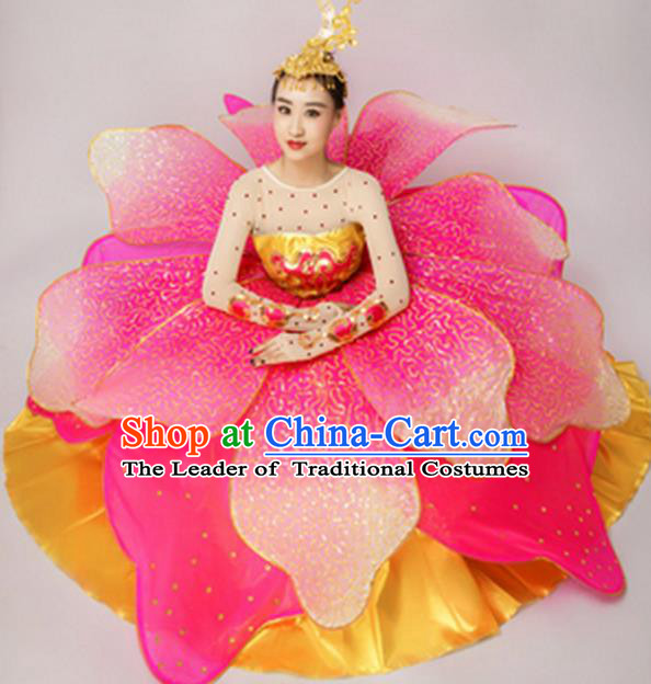 Chinese Classic Stage Performance Dance Costumes, Opening Dance Folk Dance Classic Big Swing Pink Dress for Women